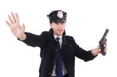 Der Polizeibeamte lokalisiert auf Weiß Lizenzfreies Stockfoto
