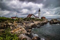 Der Portland-Kopf-Leuchtturm im Kap Elizabeth, Maine stockbild