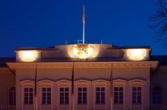 Der Präsidentenpalast ausführlich Vilnius-Nacht Lizenzfreies Stockfoto