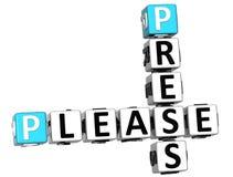 der Presse-3D Kreuzworträtseltext bitte Lizenzfreies Stockfoto