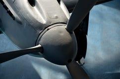 Der Propeller eines Weltkriegflugzeuges Stockfotos