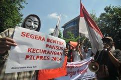 Der Protest von Indonesien-Wahl Stockbild