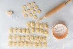 Der Prozess der Herstellung von Mehlklößen Haupt set ukraine Stockfotografie