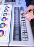 Der Prozess der Offsetdruck- und Farbkorrektur Lizenzfreie Stockfotos