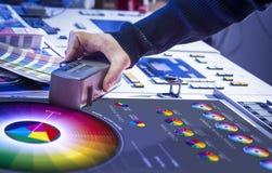 Der Prozess der Offsetdruck- und Farbkorrektur Stockbild