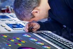 Der Prozess der Offsetdruck- und Farbkorrektur Stockfotos