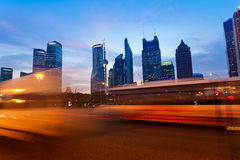 Der Pudong-Bezirk der Shanghai-Stadtnachtansicht Lizenzfreies Stockbild