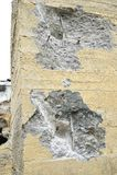 Der Punkt der Auswirkung eines Jackhammer im Stapel, der abhängig von Beseitigung ist Stockfotos