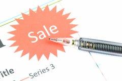 Der Punkt zum Verkaufstext auf Geschäftsdiagramm. Lizenzfreie Stockbilder