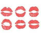 Der punktierte Satz der Frau Lippe Mädchenmünder schließen oben mit rotem Lippenstiftmake-up ENV-Vektor im Stockbilder