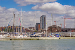 Der QEII-Anschluss an Southampton-Docks Stockbild