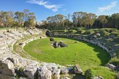 Der römische Amphitheatre in Syrakus Lizenzfreies Stockfoto