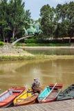 Der Raba-Fluss fließt in Mosoni-Dunafluß Stockfotografie