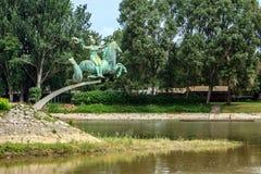 Der Raba-Fluss fließt in Mosoni-Dunafluß Stockfotos