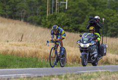 Der Radfahrer Alberto Contador Lizenzfreies Stockfoto