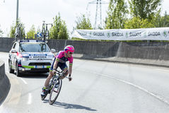 Der Radfahrer Chris Horner - Tour de France 2014 Lizenzfreie Stockfotografie