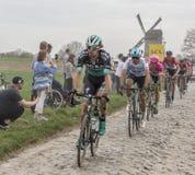 Der Radfahrer Gianni Moscon - Paris-Roubaix 2018 Lizenzfreie Stockfotografie