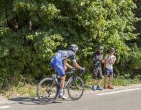 Der Radfahrer Iljo Keisse auf Mont Ventoux - Tour de France 2016 Lizenzfreie Stockfotografie