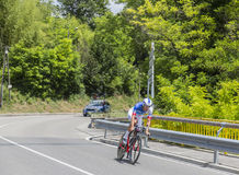 Der Radfahrer Jacopo Guarnieri - Criterium du Dauphine 2017 Stockfotografie