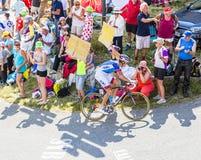 Der Radfahrer Jeremy Roy auf Col. du Glandon - Tour de France 2015 Lizenzfreie Stockfotos