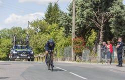 Der Radfahrer Jesus Herrada Lopez - Criterium du Dauphine 2017 Lizenzfreie Stockbilder