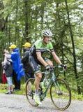 Der Radfahrer Lars Boom Climbing Col du Platzerwasel - bereisen Sie de Fra Stockfotografie