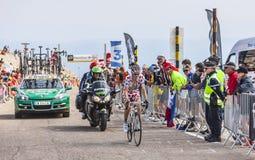 Der Radfahrer Pierre Rolland in der Polka Dot Jersey Stockfotos