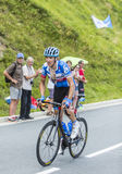 Der Radfahrer Ramunas Navardauskas auf Col. de Peyresourde - bereisen Sie De Lizenzfreie Stockbilder