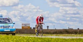 Der Radfahrer Romain Zingle Stockbild