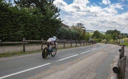 Der Radfahrer Samuel Dumoulin - Criterium du Dauphine 2017 Stockbilder