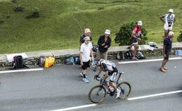 Der Radfahrer Tom Dumoulin auf Col. de Peyresourde - Tour de France Stockfotografie
