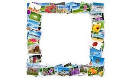 Der Rahmen gemacht von den verschiedenen Naturfotos Stockfotos
