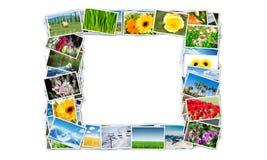 Der Rahmen gemacht von den verschiedenen Naturfotos Stockbild