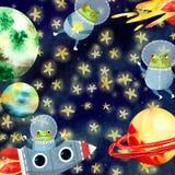 Der Rahmen der Kinder mit Planeten stock abbildung