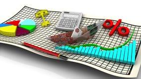 Der Rechner, die Feder und das Diagramm Konzept vektor abbildung