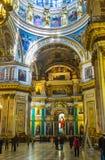 Der reiche Innenraum von Kathedrale St. Isaacs in St Petersburg stockbilder