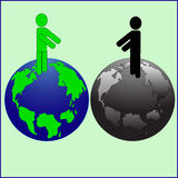 Der reine und verunreinigte Planet vektor abbildung