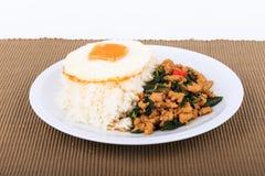 Der Reis, der mit angebratenem Huhn, Basilikum und Spiegelei überstiegen wurde, briet Aufruhrbasilikum mit gehacktem Huhn auf bra Stockfotos