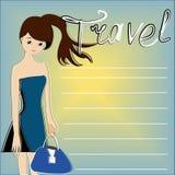 Der Reisende auf einem blauen Hintergrund Stockfotografie