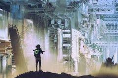 Der Reisende machen Foto der abstrakten futuristischen Stadt vektor abbildung