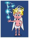 Der reizende Engel spielt mit einem kleinen Blitz Lizenzfreies Stockfoto