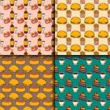 Der Restaurantfrühstücksdesign-Küche des Musters des Schnellimbisses des Vektors nahtlose Hand gezeichneter ungesunder Hintergrun Stockbild