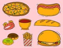 Der Restaurantfrühstückshamburgerdesign-Küche des Schnellimbisses der Vektorikonen Hand gezeichneter ungesunder Nachtisch Stockfoto