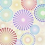 Der Retro- punktierte Spaß kreist Muster ein Stockfotografie