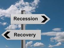Rezessionswiederaufnahmenmetapher Stockfotografie