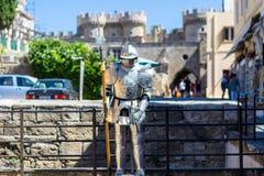 Der Ritter in der alten Stadt von Rhodos Stockbild