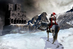 Der Ritter und das Schloss Lizenzfreies Stockfoto