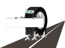 Der Roboter ist auf der Straße Stockbild