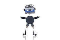 Der Roboter steht mit seinen Händen oben lizenzfreies stockbild