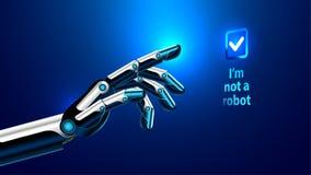 Der Roboterarm drückt den Knopf auf dem mit Berührungseingabe Bildschirm Stockfotografie